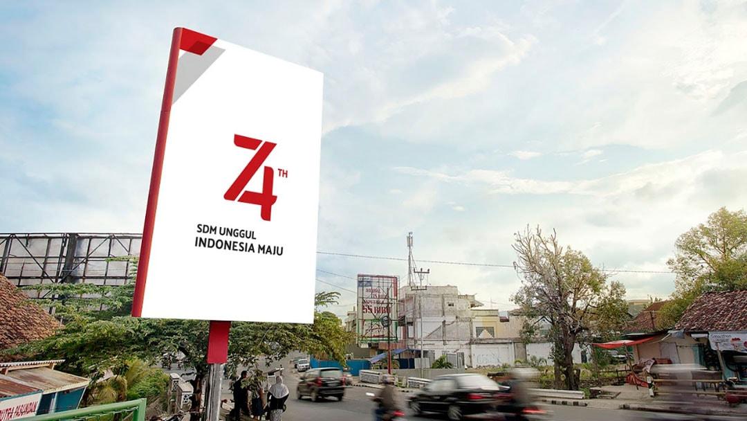 contoh desain cetak untuk HUT 74 TH Kemerdekaan Republik Indonesia