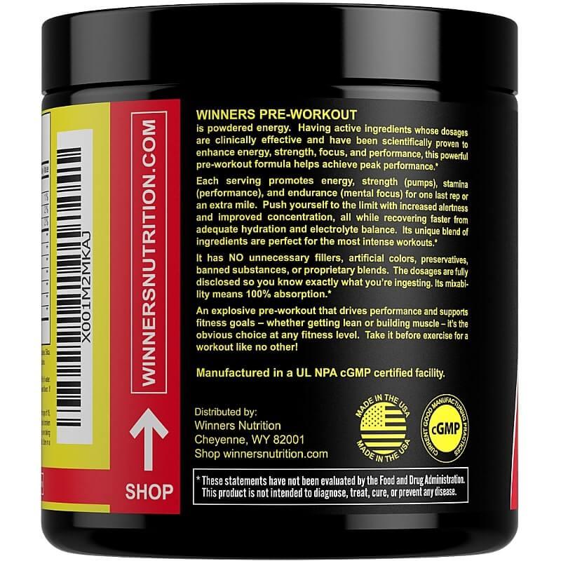 Winners Nutrition Pre Workout Powder Description