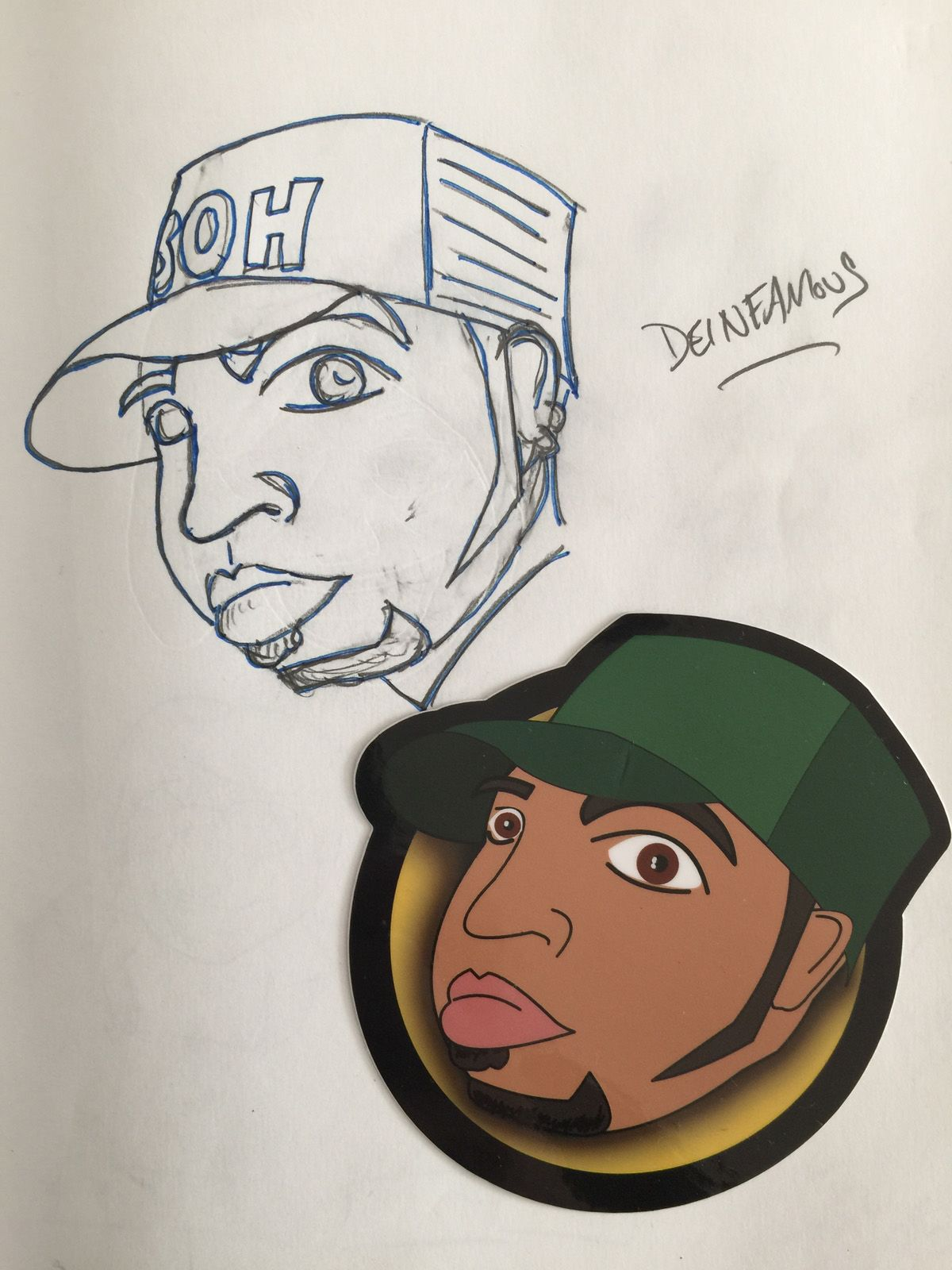 Sticker of DJ Deinfamous next to the original sketch that inspired the sticker