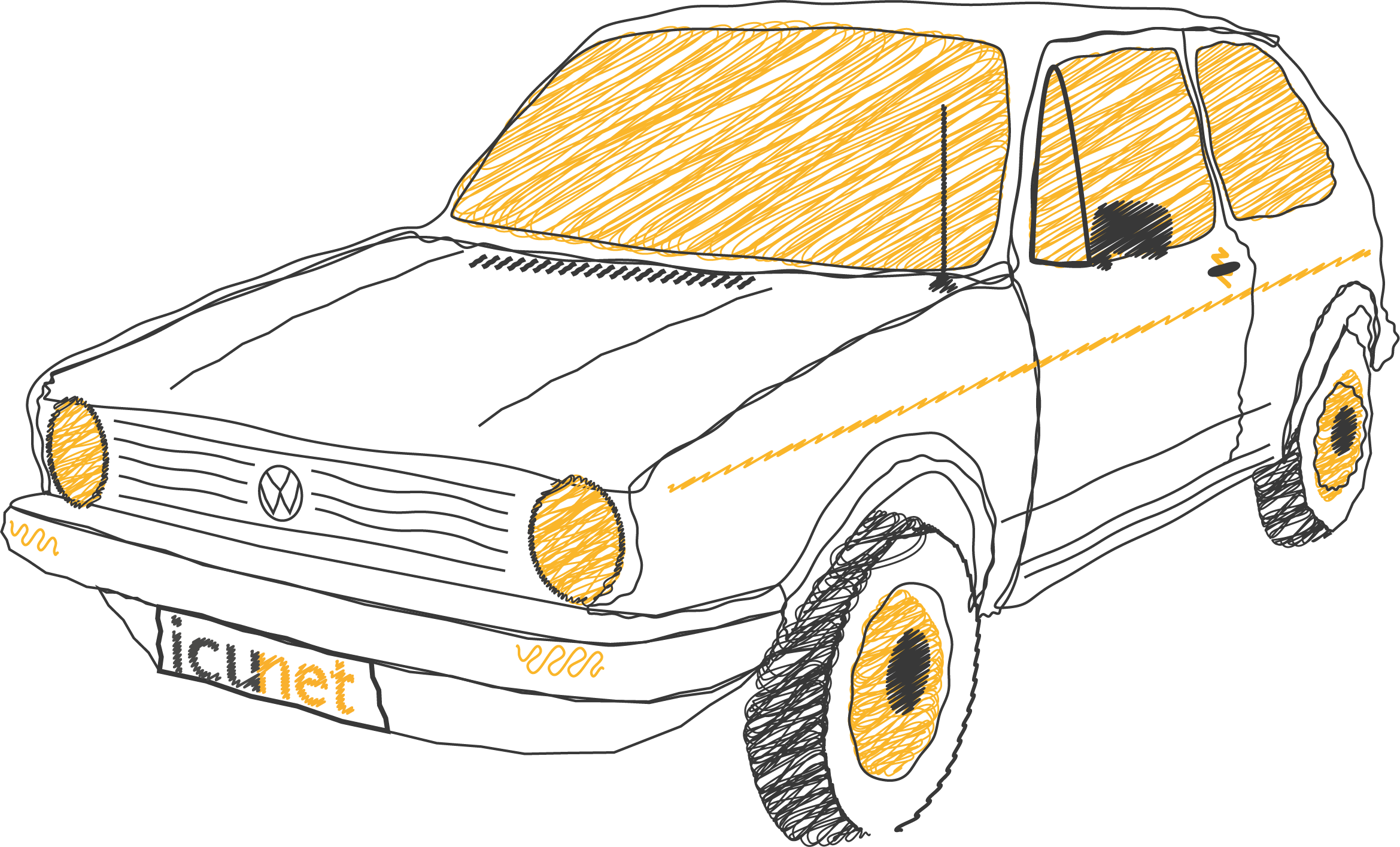 Pencil drawing of a car with yellow windows.