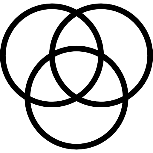 Icon graphik of three circles connected.