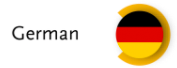 "German flag in a orange circle with the word ""Deutsch"" next to it."
