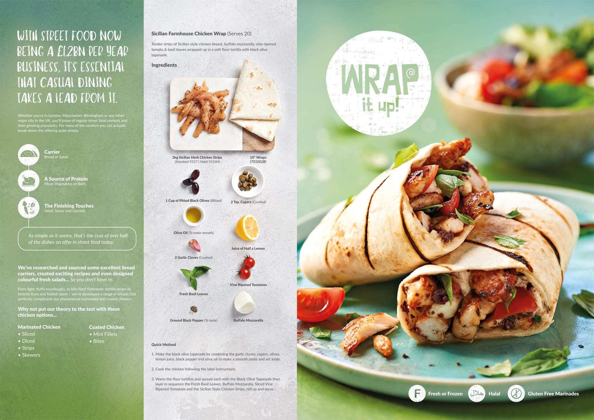 Sicilian farmhouse chicken wrap