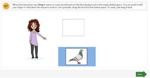 Instructions for answering a question that asks you to drag an object to a dotted space.