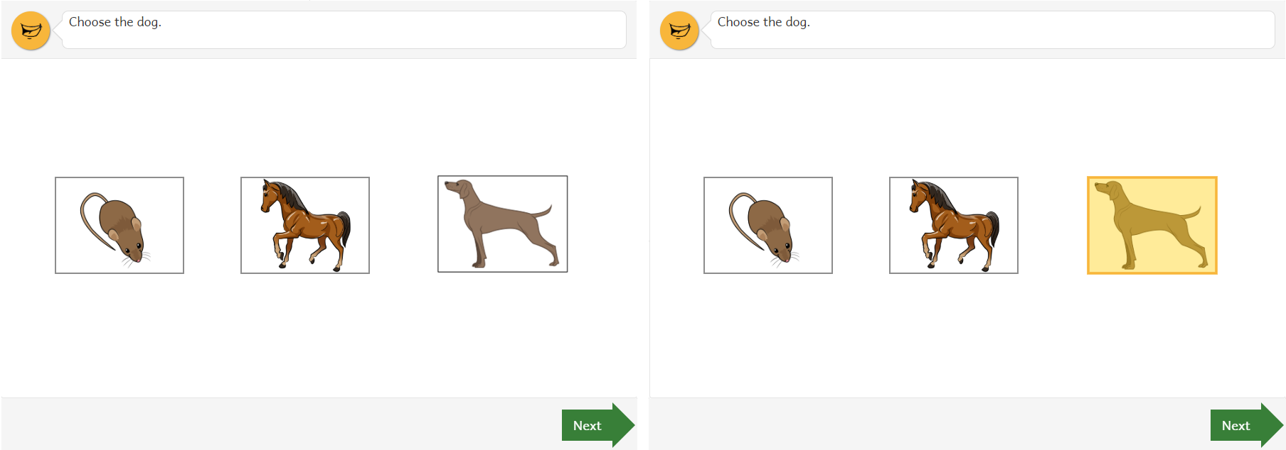 A question that asks you to choose a dog.