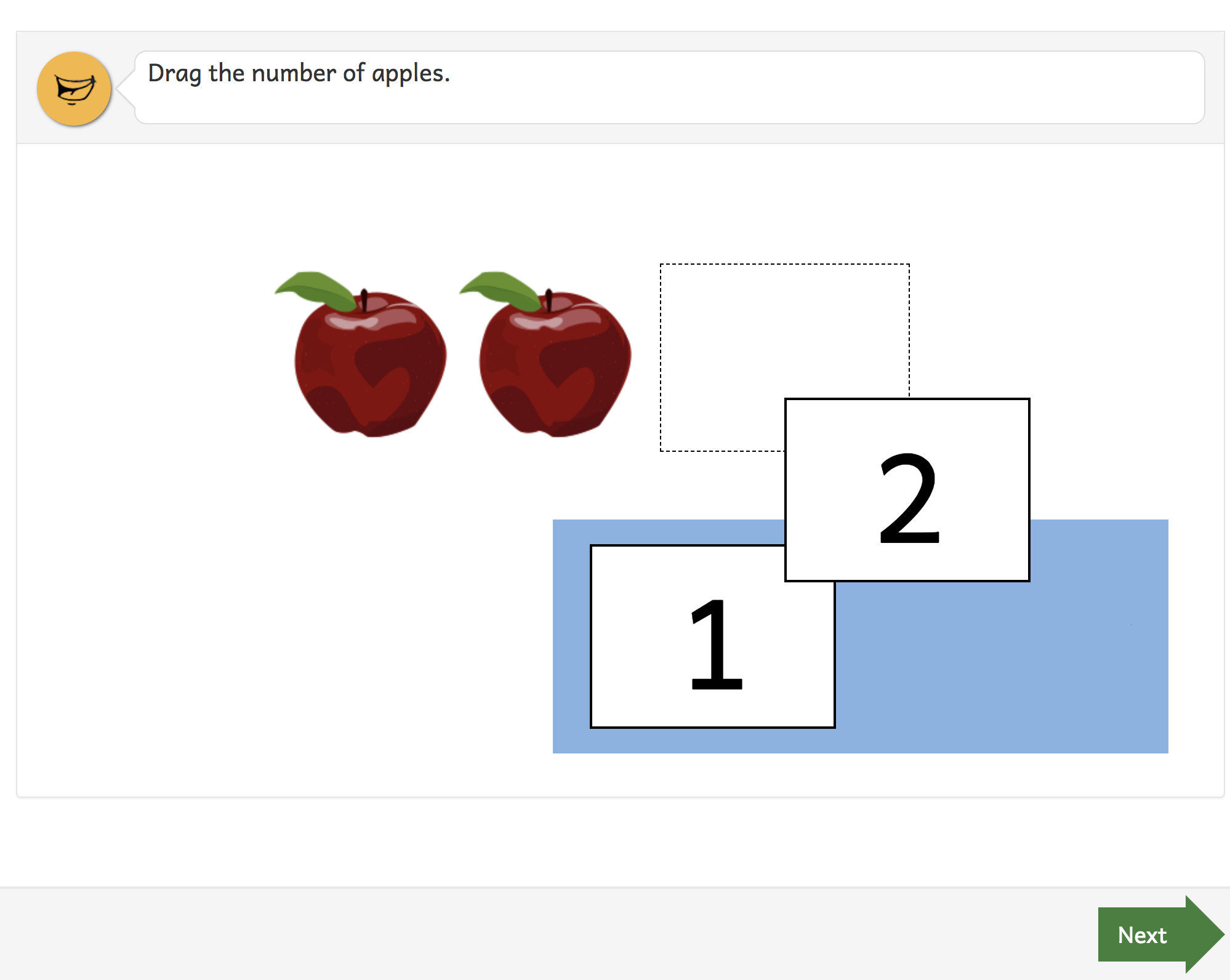A question that asks you to drag a number to a dotted space.