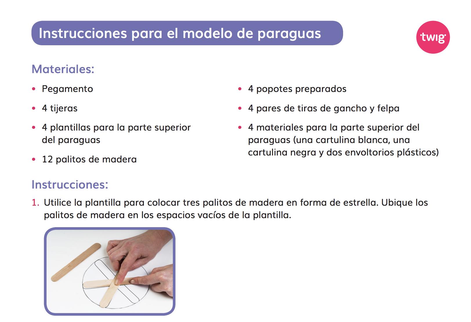 Ficha Instrucciones para el modelo de paraguas