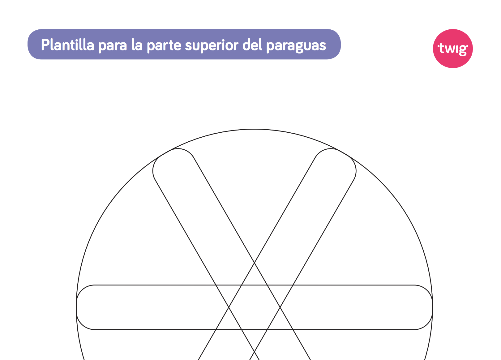 Ficha Plantilla para la parte superior del paraguas