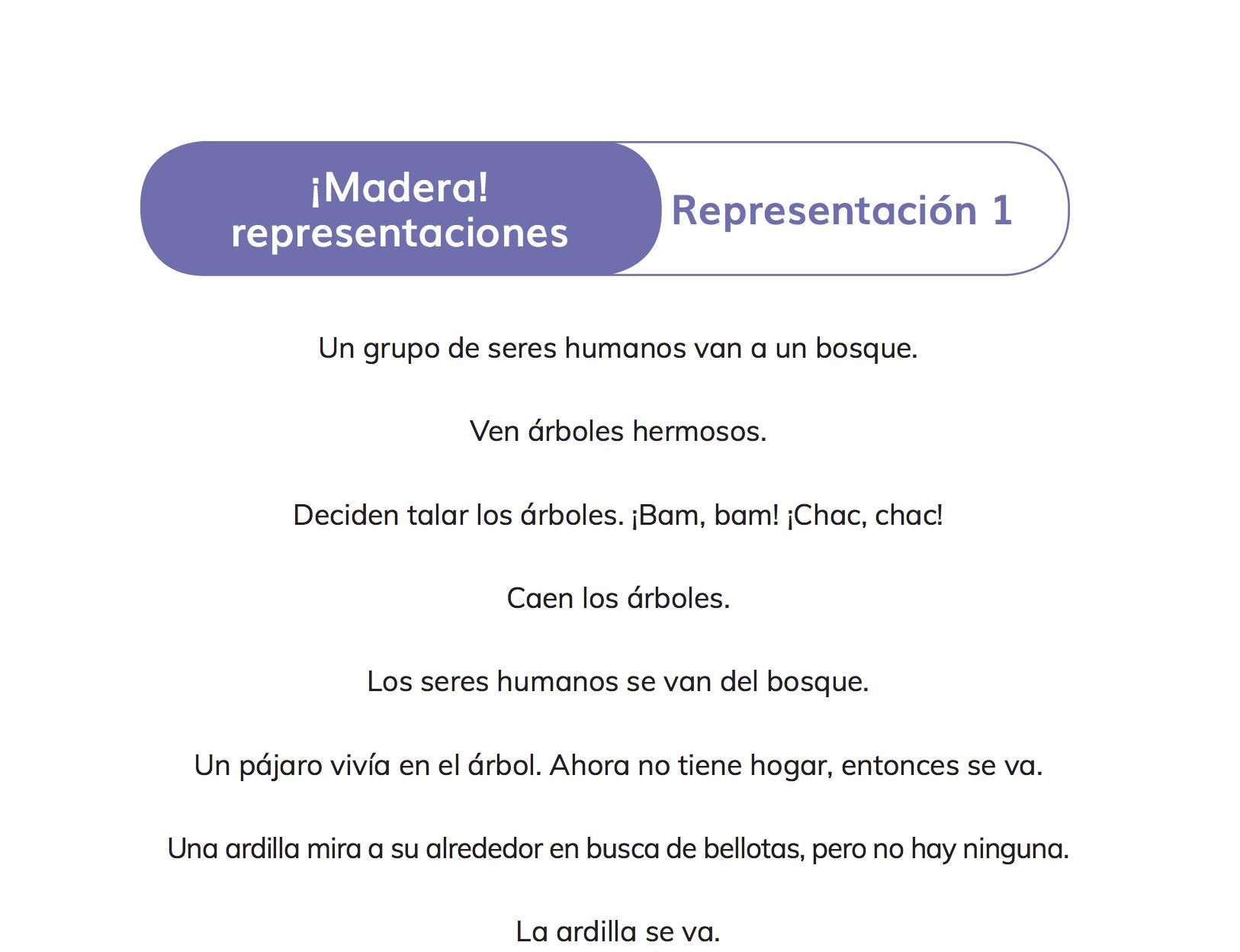Ficha ¡Madera! representaciones