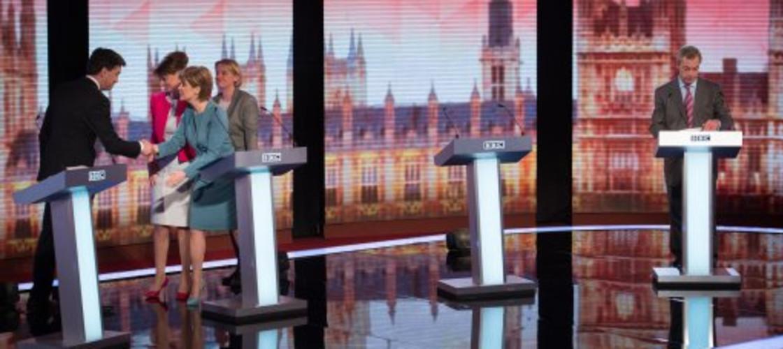 Nigel Farage, Nicola Sturgeon, Natalie Bennett, Leanne Wood and Ed Miliband at the BBC debate