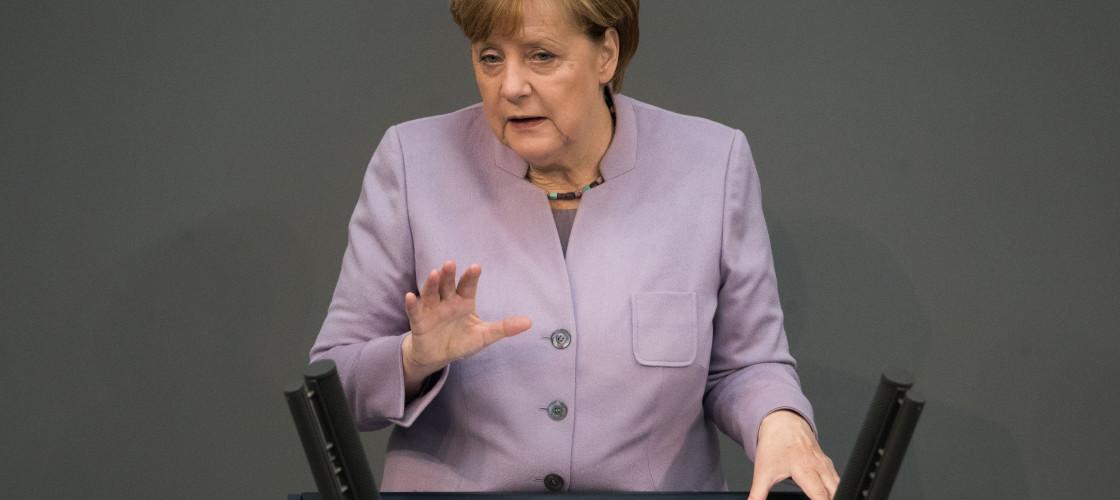 German Chancellor Angela Merkel speaks during a meeting of the Bundestag in Berlin