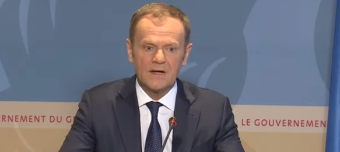 Donald Tusk at a press conference in Luxembourg today