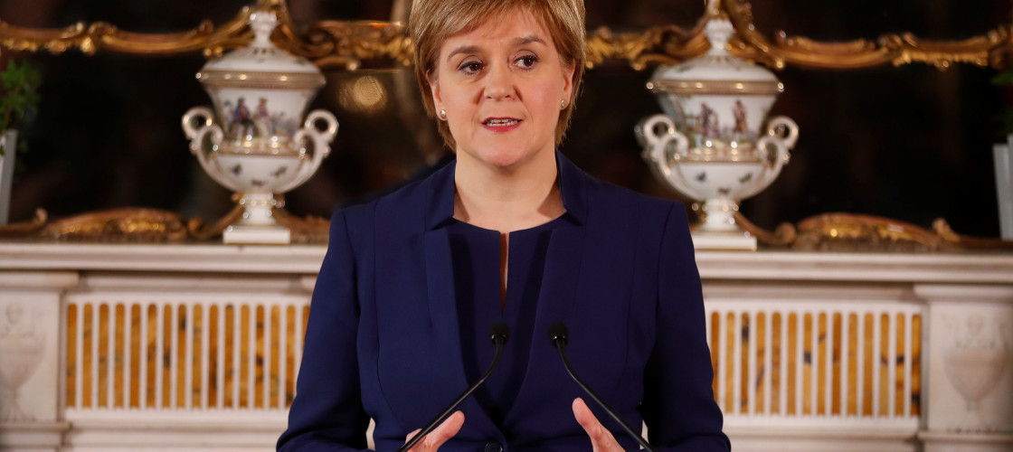 Nicola Sturgeon holding a press conference in Bute House this week
