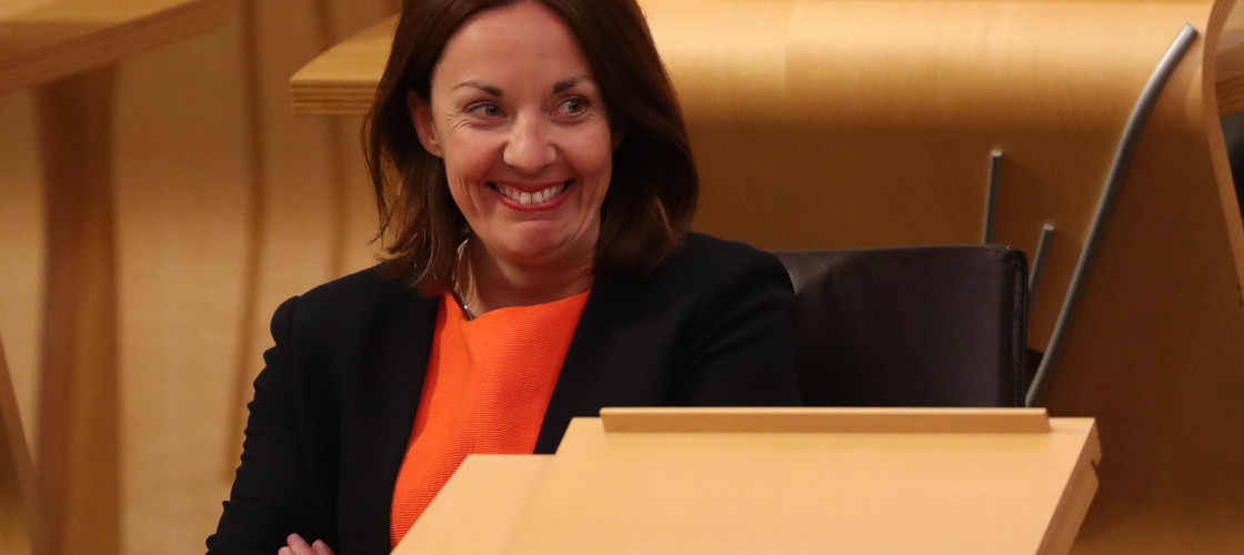 Kezia Dugdale pictured in the Holyrood chamber after returning from Australia