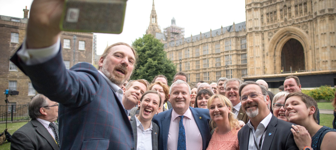 SNP MPs take a group selfie in Westminster