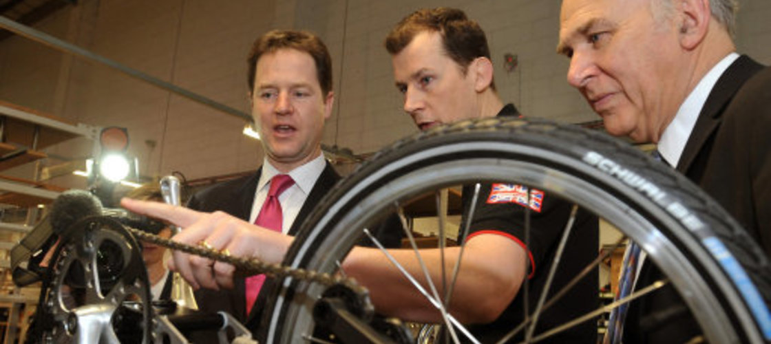 Vince Cable and Nick Clegg at Brompton bicycle factory