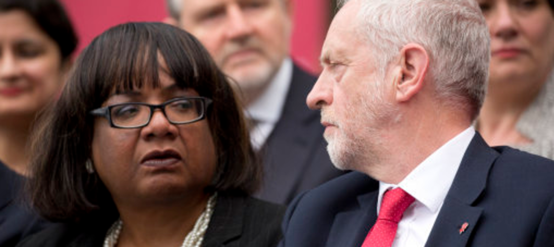 Diane Abbott and Jeremy Corbyn at Labour's manifesto launch