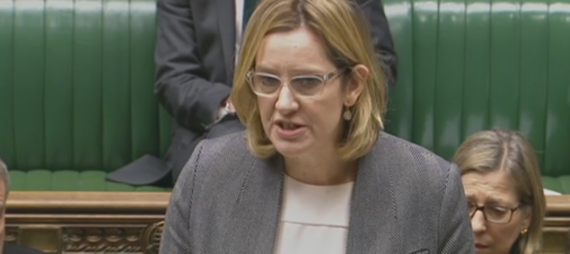Amber Rudd addressing MPs this morning