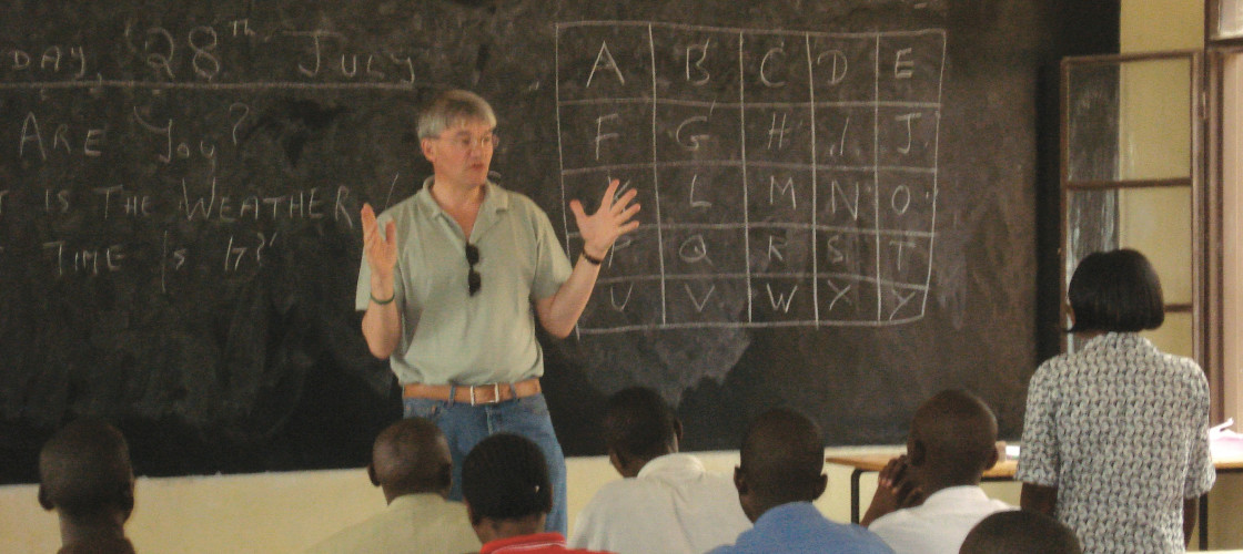 Andrew Mitchell teaching English in Rwanda
