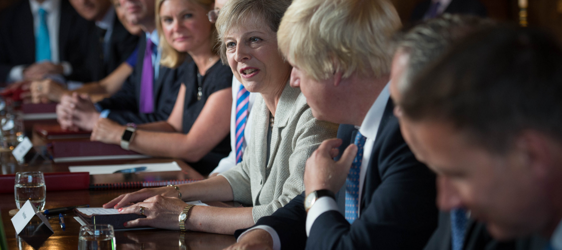 Theresa May leads a Cabinet discussion at Chequers