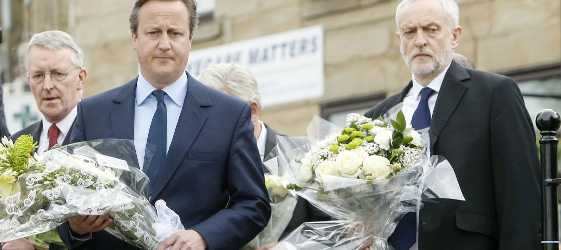 Jeremy Corbyn and David Cameron lay flowers in memory of Jo Cox