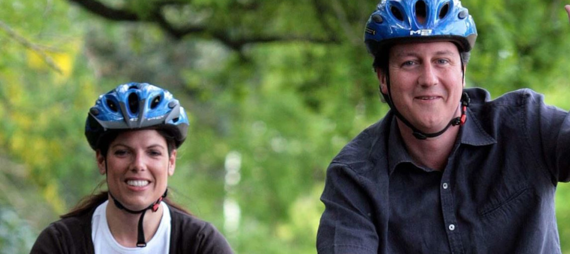 Caroline Noakes on a cycle ride with former PM David Cameron in 2007
