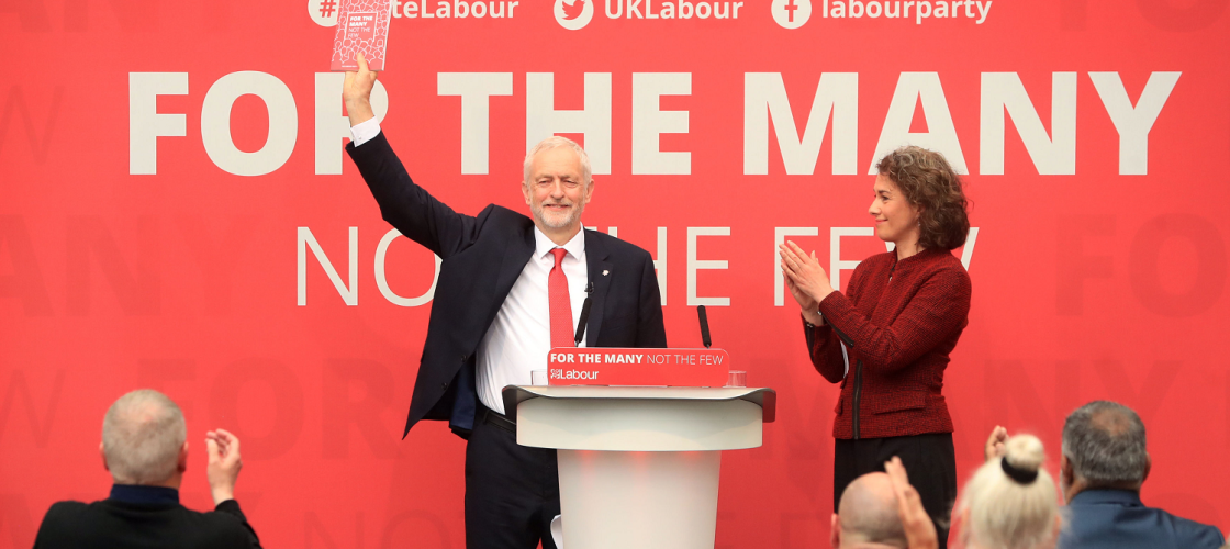 Jeremy Corbyn and Sarah Champion at the launch of Labour's 2017 general election manifesto