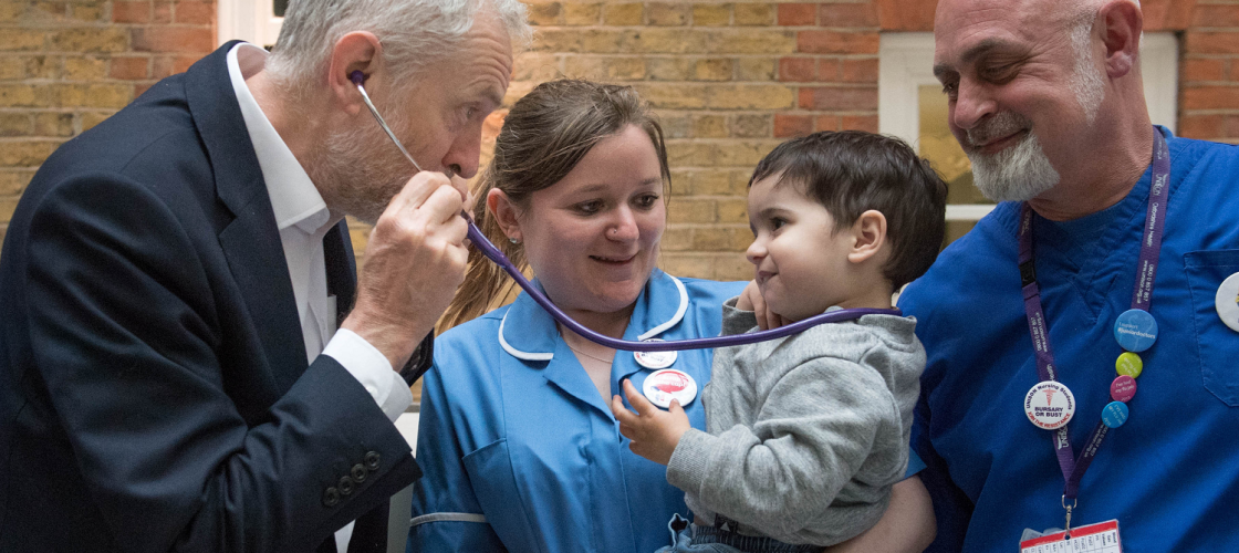 Jeremy Corbyn with a stethoscope