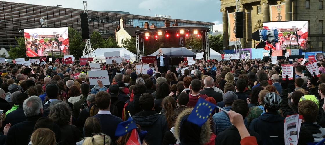 Jeremy Corbyn addressing a rally in Birmingham