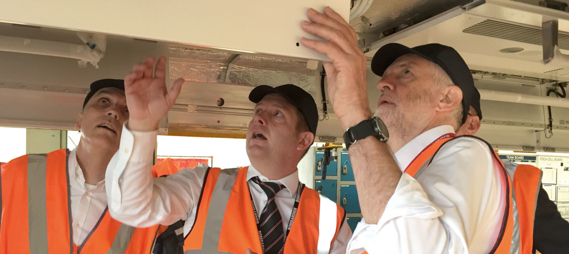 Jeremy Corbyn visits a rail firm in Derby
