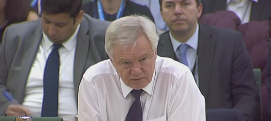 David Davis appearing at the Brexit select committee this morning