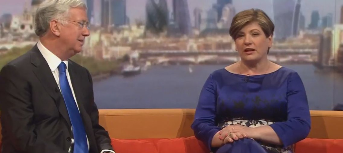 Emily Thornberry and Michael Fallon appearing on the Andrew Marr show this morning