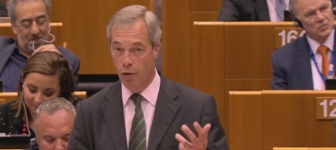 Nigel Farage speaking in the European Parliament