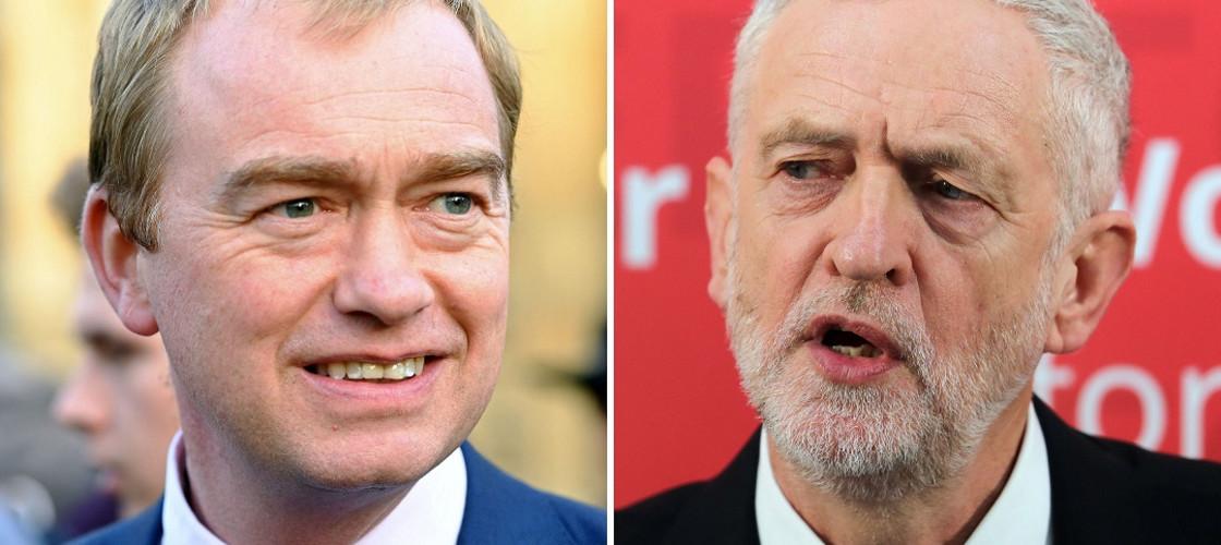 Tim Farron and Jeremy Corbyn