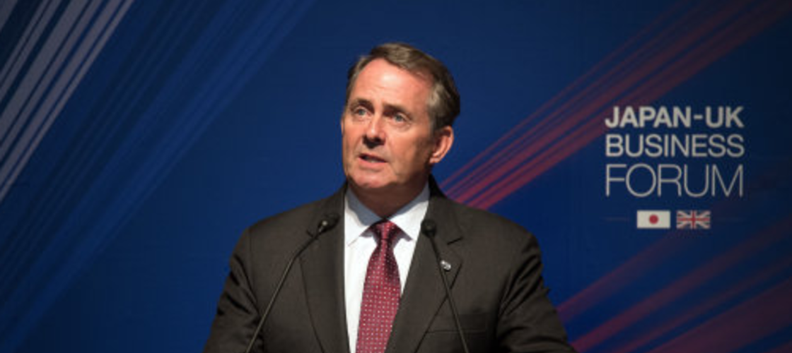 Liam Fox speaking at a business event in Tokyo yesterday