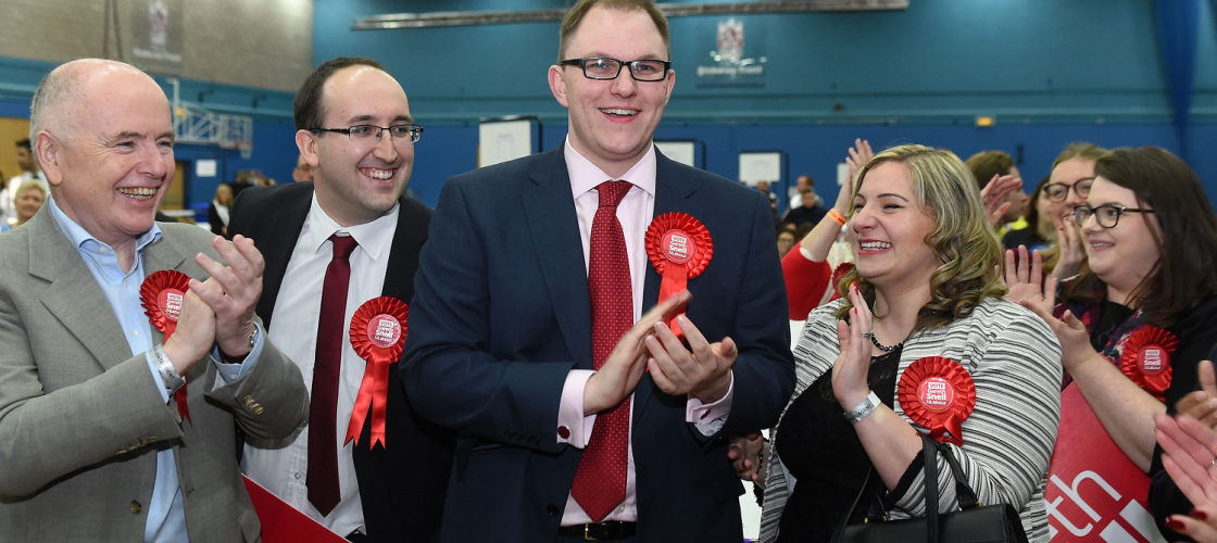 Gareth Snell celebrates after winning the Stoke-on-Trent Central by-election