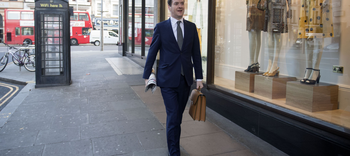 George Osborne arriving for his first day as editor of the Evening Standard