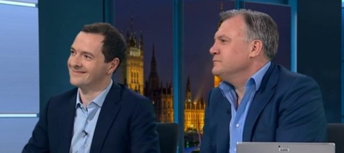 George Osborne sat next to Ed Balls on ITV this evening