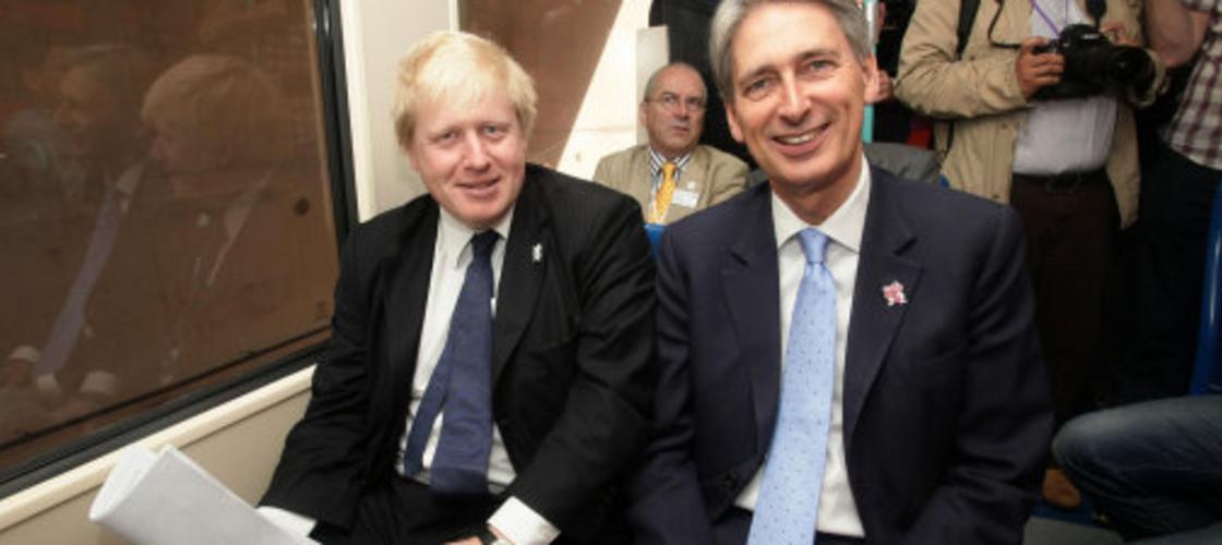 Philip Hammond and Boris Johnson on a train