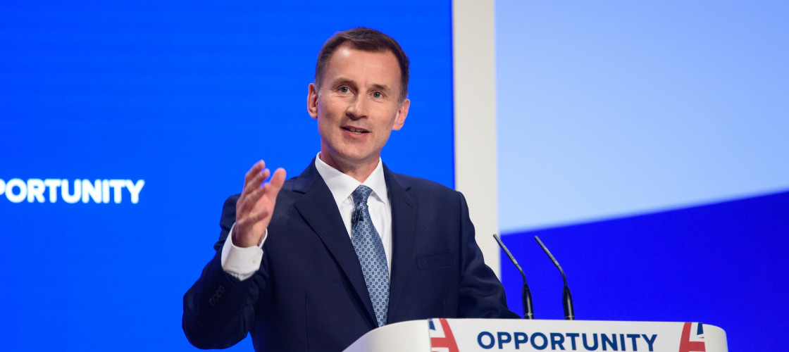 Jeremy Hunt addresses the Conservative Party conference