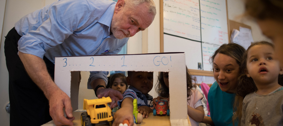 Jeremy Corbyn visits a nursery in Westminster