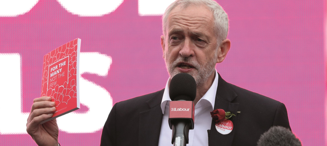 Jeremy Corbyn at the launch of the 2017 Labour election manifesto