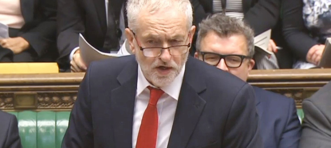 Labour leader Jeremy Corbyn during PMQs