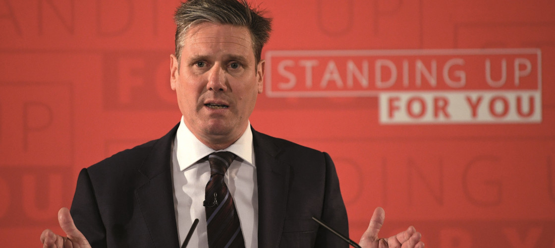 Sir Keir Starmer outlining Labour's Brexit stance during the election campaign