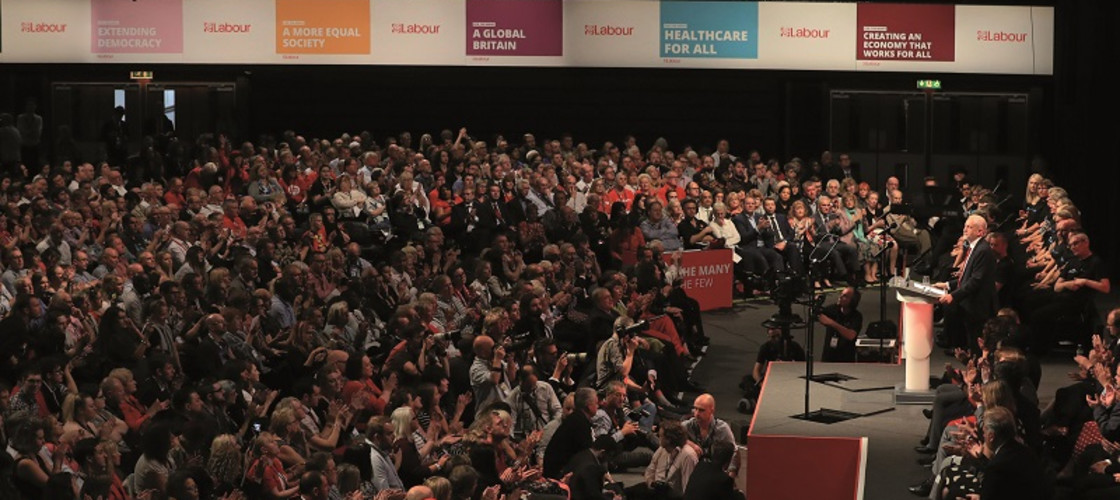 Jeremy Corbyn delivering his speech at the Labour party conference