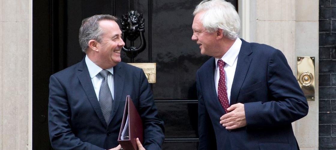 Liam Fox and David Davis outside No 10