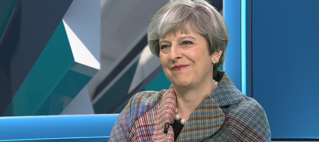 Theresa May appearing on the ITV News Facebook Live event today