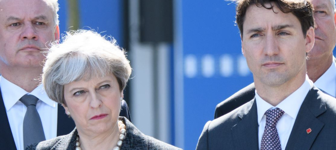 Theresa May and Justin Trudeau at a Nato event in Brussels in May this year