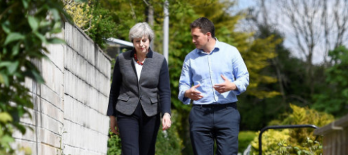 Johnny Mercer and Theresa May on the campaign trail in Plymouth last year