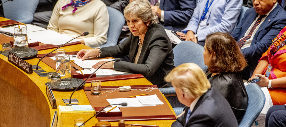 Theresa May and Donald Trump at the United Nations